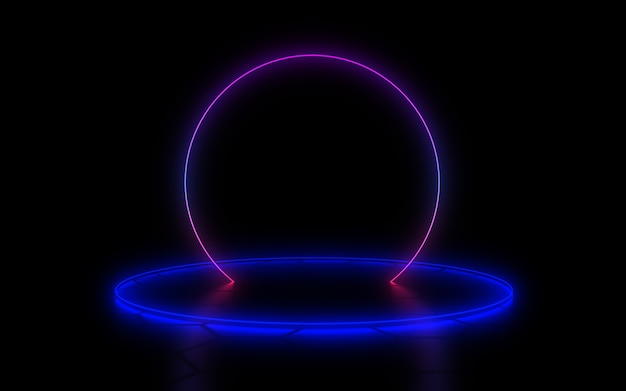 3d abstract background with neon light. 3d illustration Premium Photo