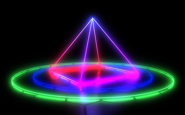네온 빛으로 3d 추상적 인 배경입니다. 3d 그림