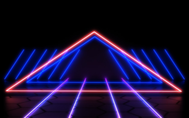 3d abstract background with neon lights. 3d illustration