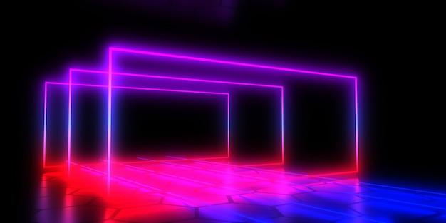 네온 불빛 3d 추상적 인 배경입니다. 3d 그림