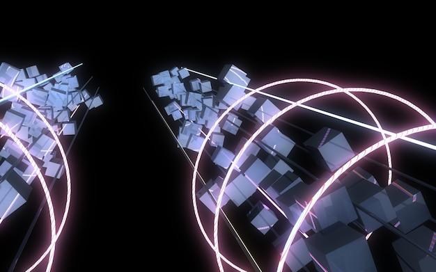 3d абстрактный фон с неоновыми огнями. 3d иллюстрация