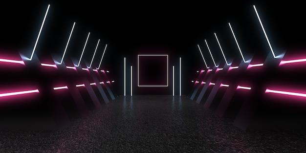 네온 불빛으로 3d 추상적 인 배경입니다. 3d 그림