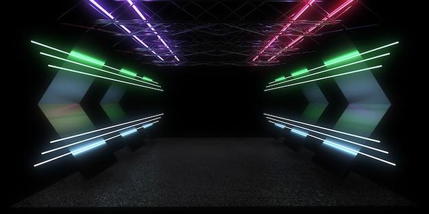 네온 불빛으로 3d 추상적 인 배경입니다. 네온 터널. 3d 그림