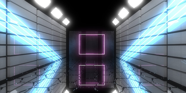 3d abstract background with neon lights. neon tunnel. .space construction . .3d illustration33