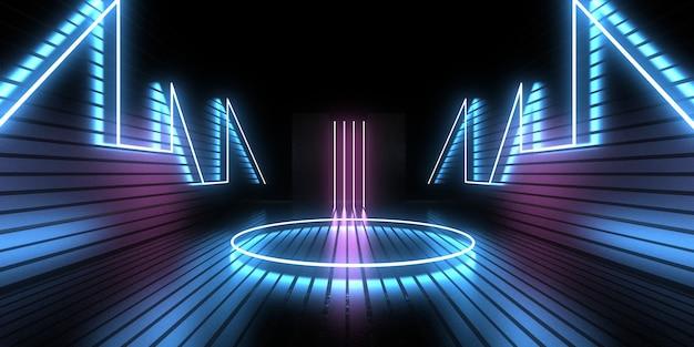 3d абстрактный фон с неоновыми огнями. неоновый туннель. .космическое строительство. .3d иллюстрация33