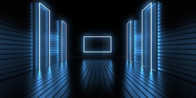 네온 불빛과 함께 3d 추상적인 배경입니다. 네온 터널. . 공간 건설 . .3d 그림33