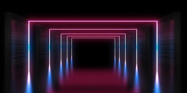 네온 불빛으로 3d 추상적 인 배경입니다. 네온 터널 .space 건설. 3d 그림