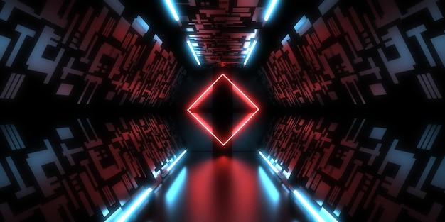 ネオンライトと3d抽象的な背景。ネオントンネル。宇宙建設。 3dイラスト