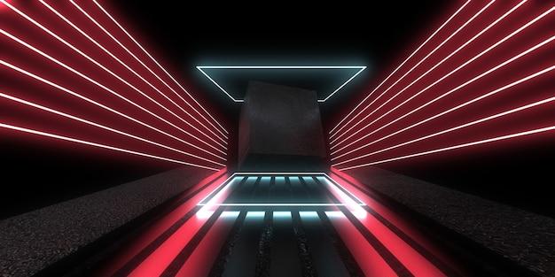 3d абстрактный фон с неоновыми огнями. неоновый туннель. космическое строительство. куб. 3d иллюстрации