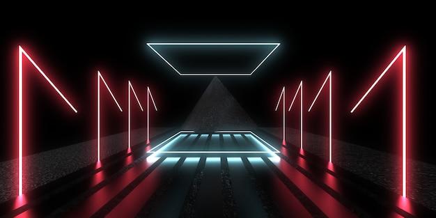 3d абстрактный фон с неоновыми огнями. неоновый туннель. космическое строительство. пирамида..3d иллюстрация