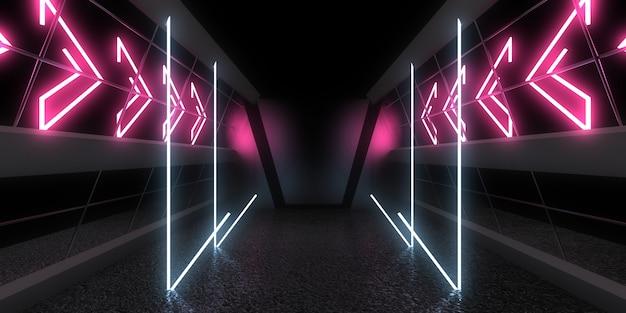 3d абстрактный фон с неоновыми огнями. космическое строительство. 3d иллюстрация