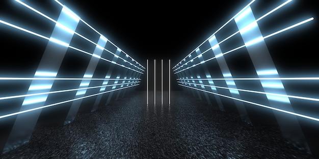 네온 불빛으로 3d 추상적 인 배경