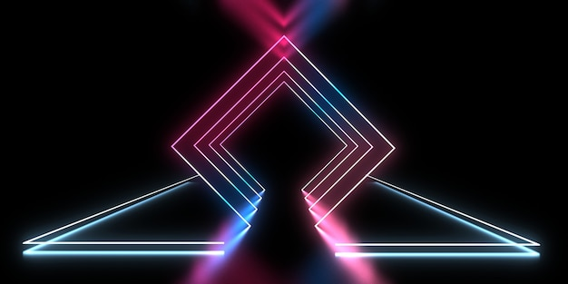 ネオンライトと3d抽象的な背景