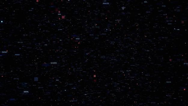 3d абстрактный фон со случайными частицами. произвольно сгенерированный текст с цифрами. темные технологии или бизнес-фон. треугольники, кресты и квадратные формы элементов разных размеров.