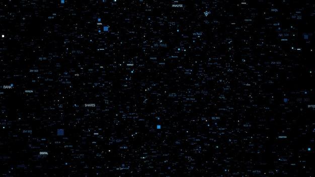 ランダムな粒子と3d抽象的な背景。数字付きのランダムに生成されたテキスト。暗い技術またはビジネスの背景。さまざまなサイズの要素の三角形、十字、正方形のフォーム。