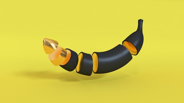 3d abstract banana 3d rendering yellow background