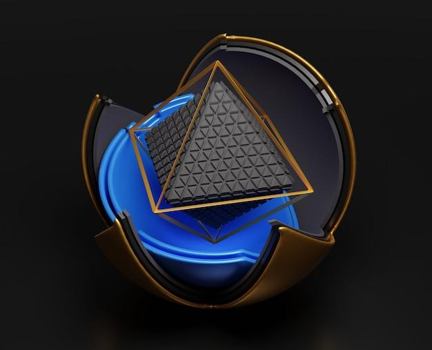 기하학적 형태와 3d 추상 검은 장면.