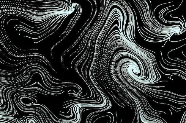 3d 추상 검은 흰색 배경 장식 흐르는 소용돌이 모양 벽지 나선형 라인 아트