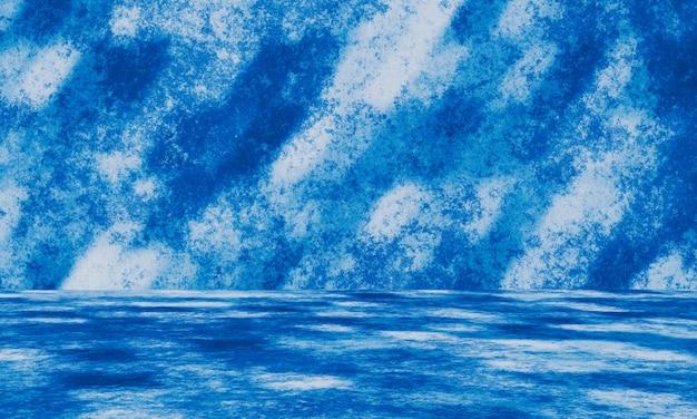 3d 추상 파란색과 흰색 시멘트 벽 배경