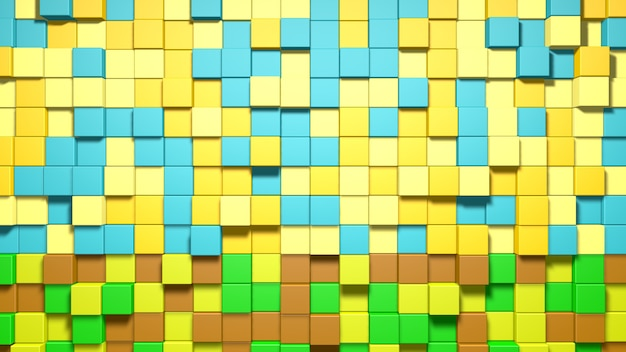 3d abstract blue, yellow, green and brown cubes background