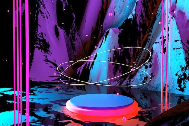 3d 추상 밝은 네온 배경 사이버 공간 가상 현실 자외선 빛나는 핑크 연단 환상적인 공간에서 포털 최소한의 고층 빌딩 밤 하늘