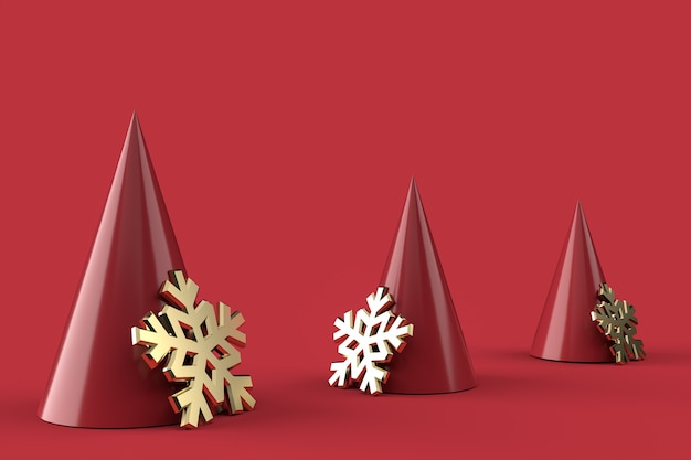 3d abstract christmas trees and golden snowflakes