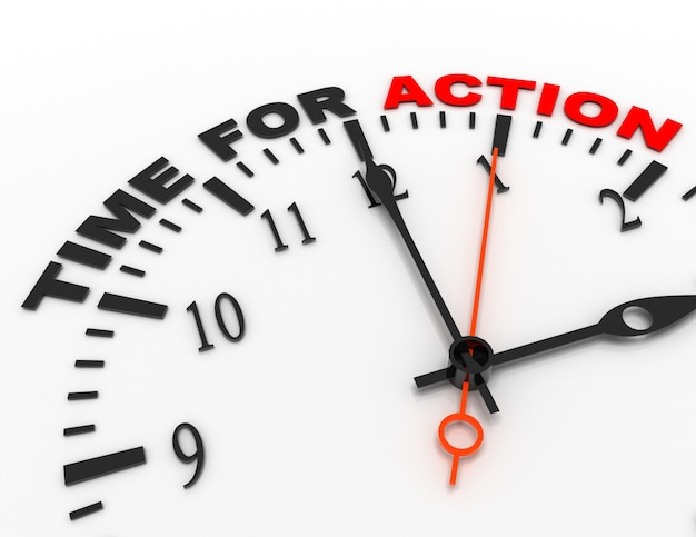 Абстрактные часы 3d с временем слова для действия. концепция времени
