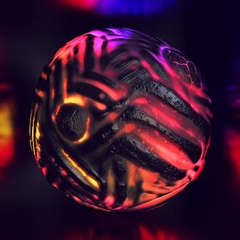 Composizione colorata astratta 3d con sfere nere