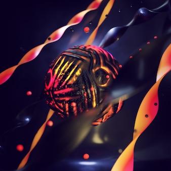 黒い球と3d抽象的なカラフルな構成