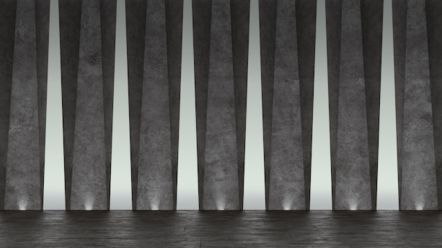 3d abstract concrete showroom