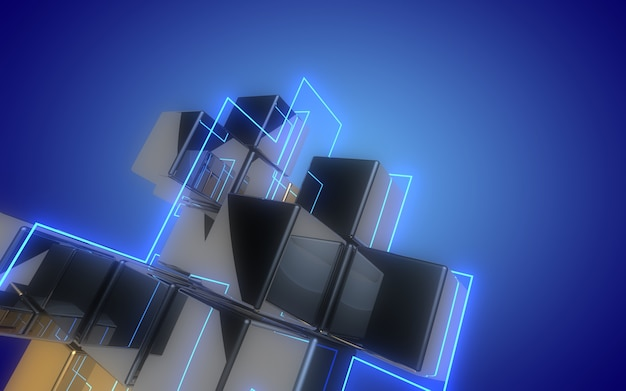 3d abstract cubes background with neon light.3d illustration Premium Photo