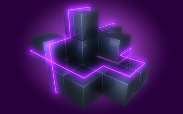 3d abstract cubes background with neon lights . 3d illustration3