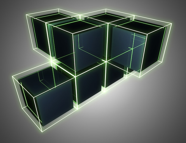 3d abstract cubes background with neon lights . 3d illustration
