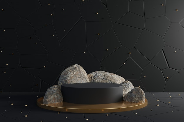 3d abstract design scene with black podium and realistic rocks.