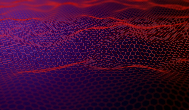 3d abstract digital landscape with connecting hexagons background