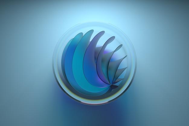 3d абстрактная фигура из стекла. центральная композиция кадра. преломляющее стекло. витая форма.