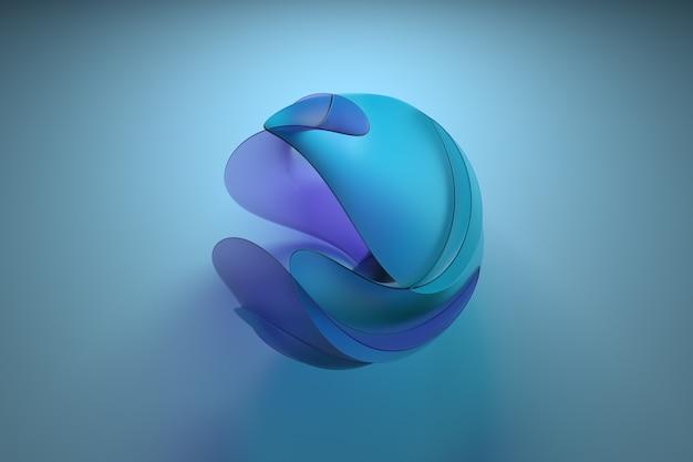ガラス製の3d抽象図。センターフレーム構成。屈折ガラス素材。ツイスト形状。