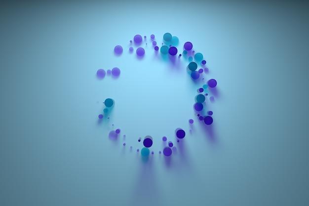 ガラス製の3d抽象図。センターフレーム構成。屈折ガラス素材。