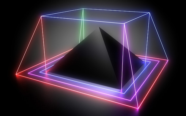3d abstract geometric background with neon lights. 3d illustration