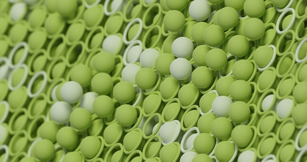 3d abstract geometric bright green background with spheres and mesh. contemporary futuristic  backdrop with a voluminous green texture. modern cover, background for presentations, advertising.