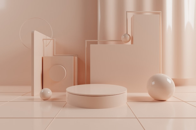 3d abstract geometric scene with cream color podium on grid floor.