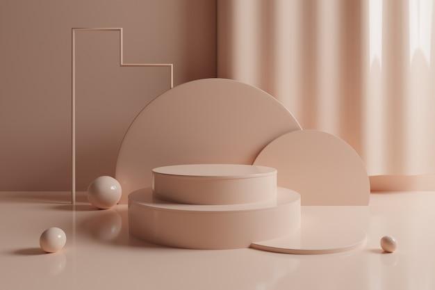 3d abstract geometric scene with cream color podium.
