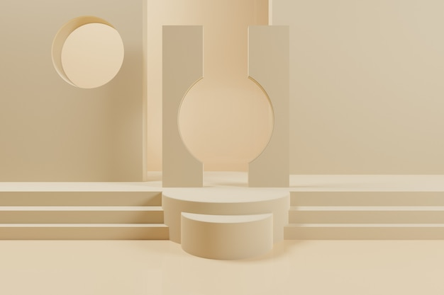3d abstract geometric scene with yellow color podium.