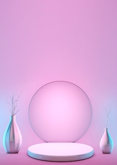 3d 추상적 인 기하학적 모양 파스텔 핑크 색상 장면 최소한의 장식 꽃병 및 받침대, 화장품 또는 제품 디스플레이 연단 디자인