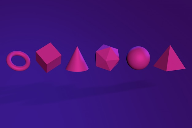 3d abstract geometric shapes in neon light. 3d render illustration