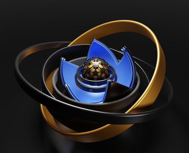 검은 bakcground에 3d 추상적 인 기하학적 인 모양입니다.
