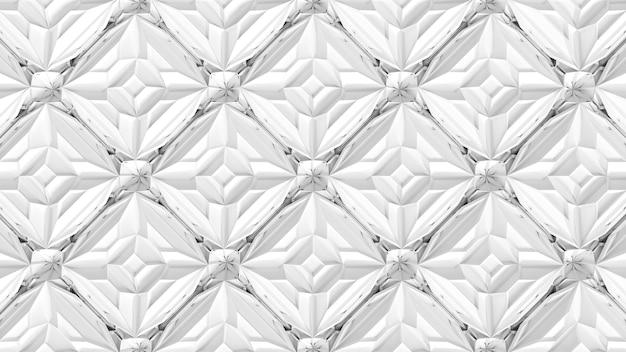 3d 추상 기하학적 만화경 변환입니다. 흰색 표면의 프랙탈 왜곡입니다. 3d 렌더링 그림입니다.