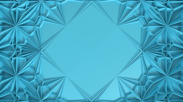 3d abstract geometrical kaleidoscope transformation. fractal distortion of surface with central place for text. 3d render illustration.