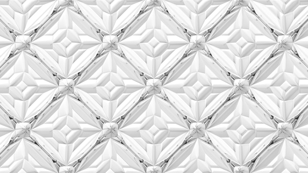 3d abstract geometrical kaleidoscope transformation. fractal distortion of white surface. 3d render illustration.