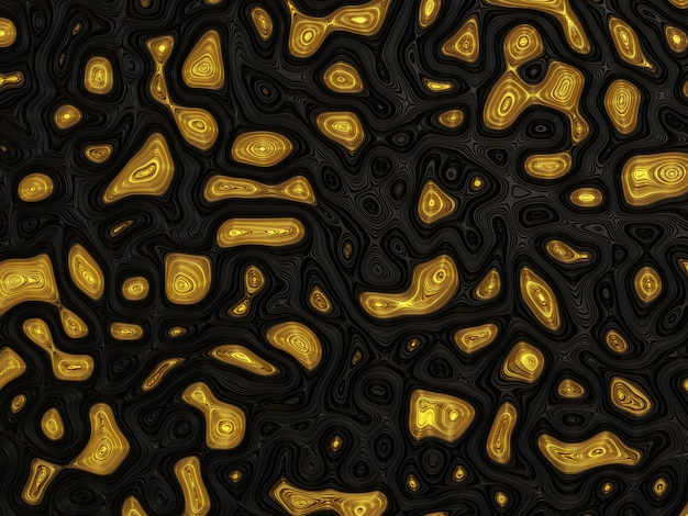 3d abstract gold on black background
